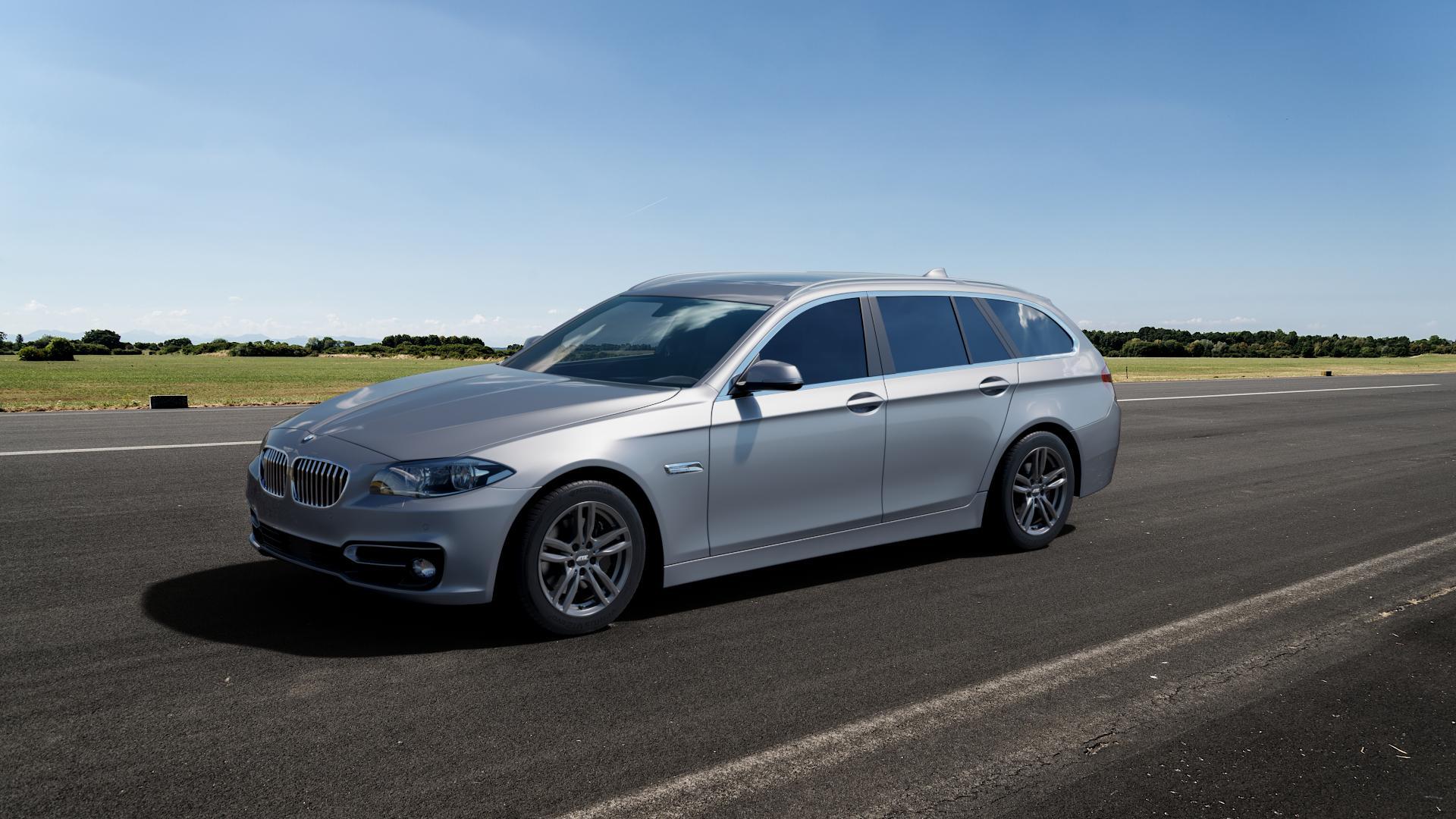 ATS Evolution dark-grey Felge mit Reifen grau in 17Zoll Winterfelge Alufelge auf silbernem BMW 523i Typ F11 (Touring) 535i 520d 530d 528i xDrive 530i 550i 520i 525d 535d 518d ⬇️ mit 15mm Tieferlegung ⬇️ Big_Vehicle_Airstrip_1 Frontansicht_1