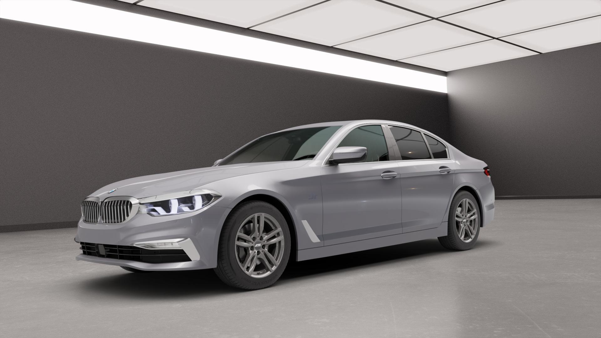 ATS Evolution dark-grey Felge mit Reifen grau in 17Zoll Winterfelge Alufelge auf silbernem BMW 5er G30 Limousine (G5L) ⬇️ mit 15mm Tieferlegung ⬇️ Neutral_mid_max5300mm Frontansicht_1
