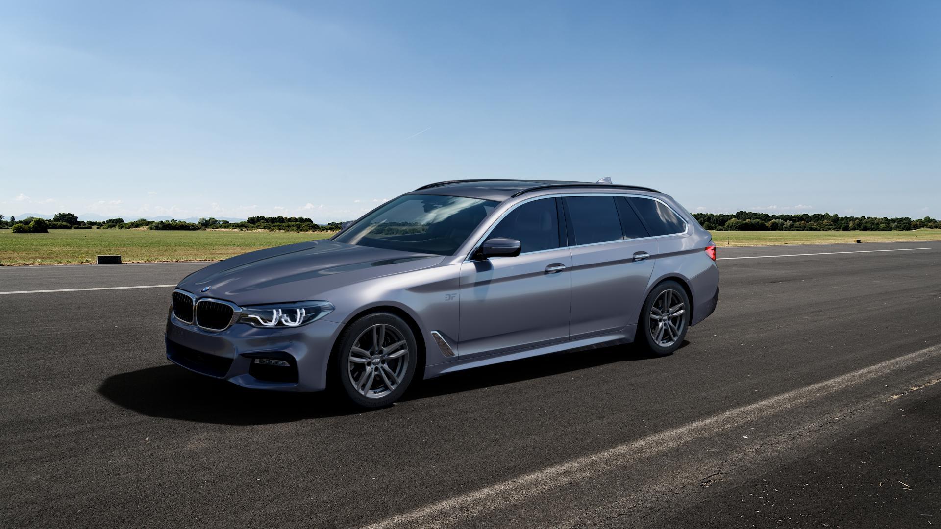 ATS Evolution dark-grey Felge mit Reifen grau in 17Zoll Winterfelge Alufelge auf silbernem BMW 5er G31 Touring (G5K) ⬇️ mit 15mm Tieferlegung ⬇️ Big_Vehicle_Airstrip_1 Frontansicht_1