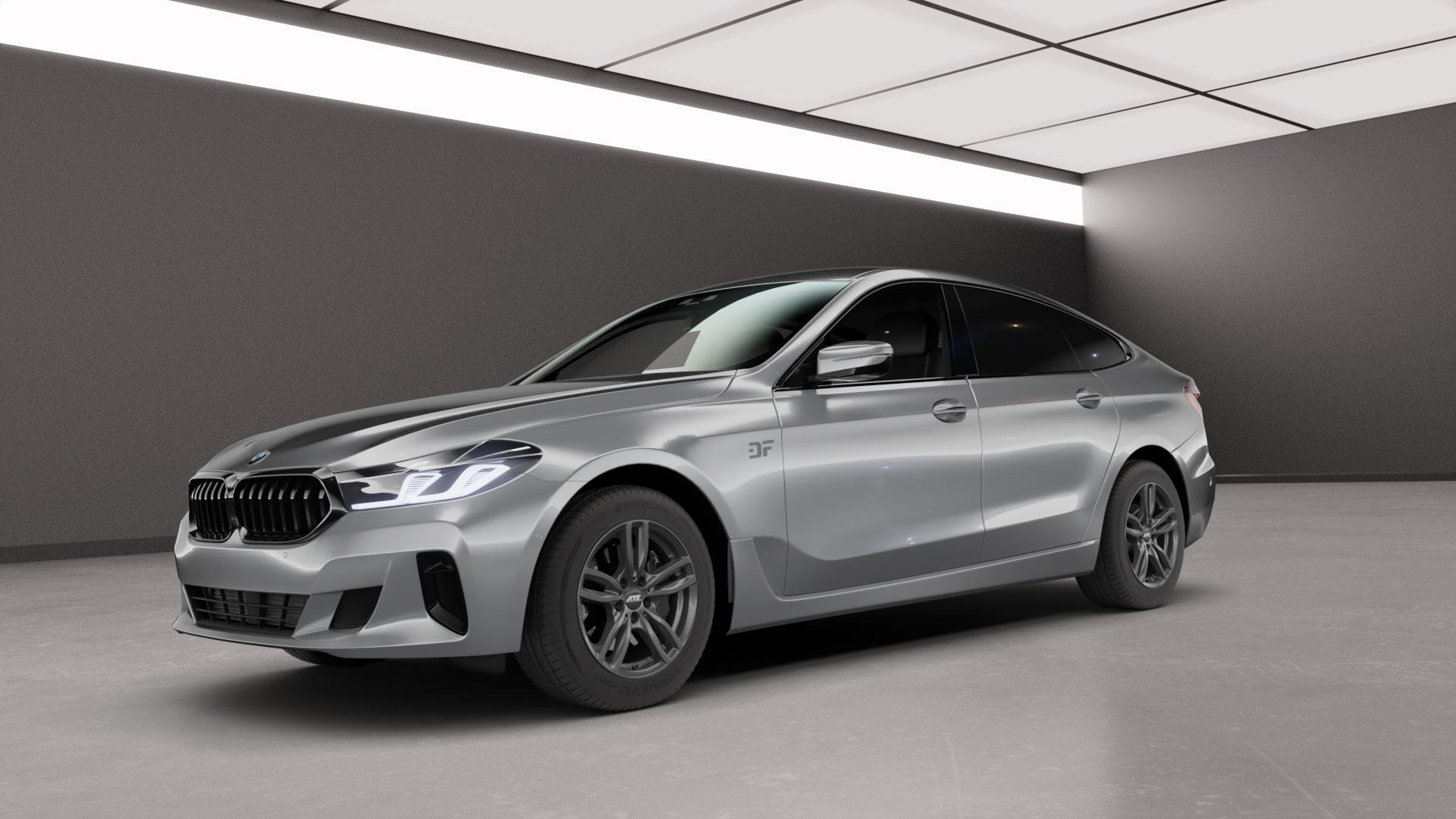 ATS Evolution dark-grey Felge mit Reifen grau in 17Zoll Winterfelge Alufelge auf silbernem BMW 6er G32 Gran Turismo (G6GT) Facelift ⬇️ mit 15mm Tieferlegung ⬇️ Neutral_mid_max5300mm Frontansicht_1