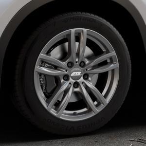 ATS Evolution dark-grey Felge mit Reifen grau in 17Zoll Winterfelge Alufelge auf silbernem BMW X1 Typ F48 (UKL-L) (F1X) ⬇️ mit 15mm Tieferlegung ⬇️ Industriehalle 1 Thumbnail