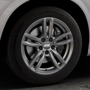 ATS Evolution dark-grey Felge mit Reifen grau in 17Zoll Winterfelge Alufelge auf silbernem BMW X4 Typ F26 (X3, X-N1) ⬇️ mit 15mm Tieferlegung ⬇️ Industriehalle 1 Thumbnail