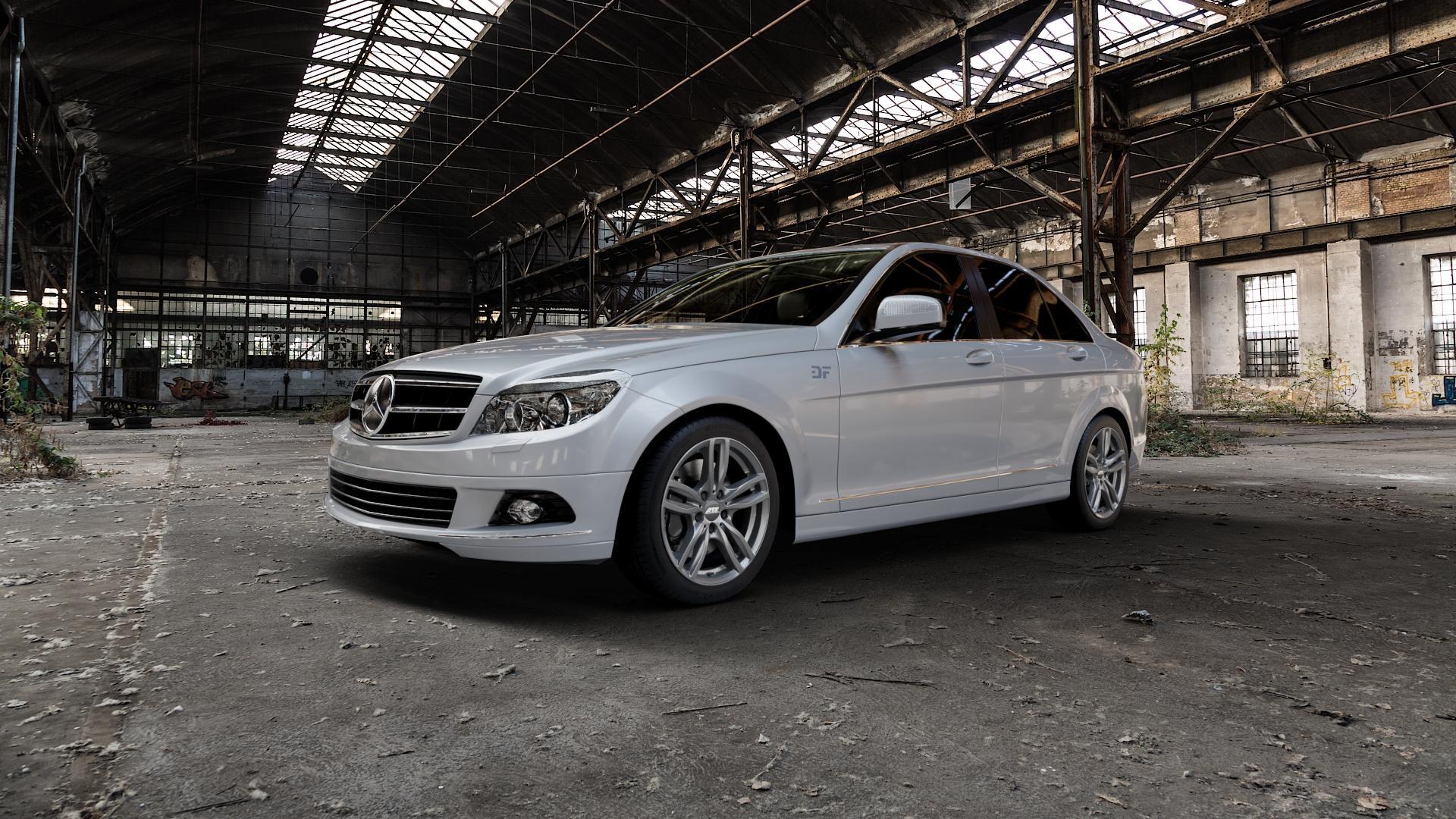 ATS Evolution dark-grey Felge mit Reifen grau in 17Zoll Winterfelge Alufelge auf silbernem Mercedes C-Klasse Typ W204 Limousine ⬇️ mit 15mm Tieferlegung ⬇️ Industriehalle 1 Camera_000