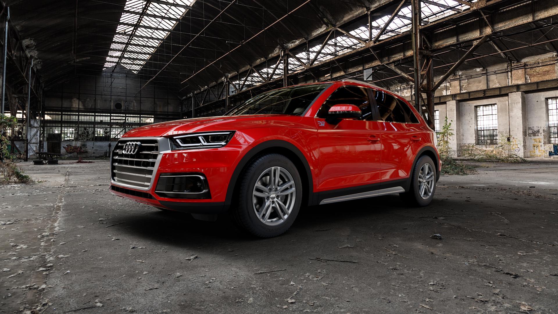 ATS Evolution dark-grey Felge mit Reifen grau in 18Zoll Winterfelge Alufelge auf rotem Audi Q5 II Typ FY ⬇️ mit 15mm Tieferlegung ⬇️ Industriehalle 1 Camera_000