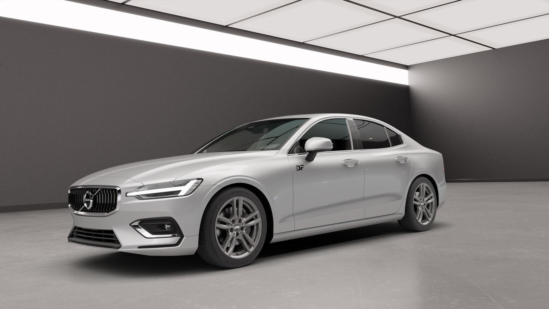 ATS Evolution dark-grey Felge mit Reifen grau in 18Zoll Winterfelge Alufelge auf silbernem Volvo S60 III Typ Z ⬇️ mit 15mm Tieferlegung ⬇️ Neutral_mid_max5300mm Frontansicht_1