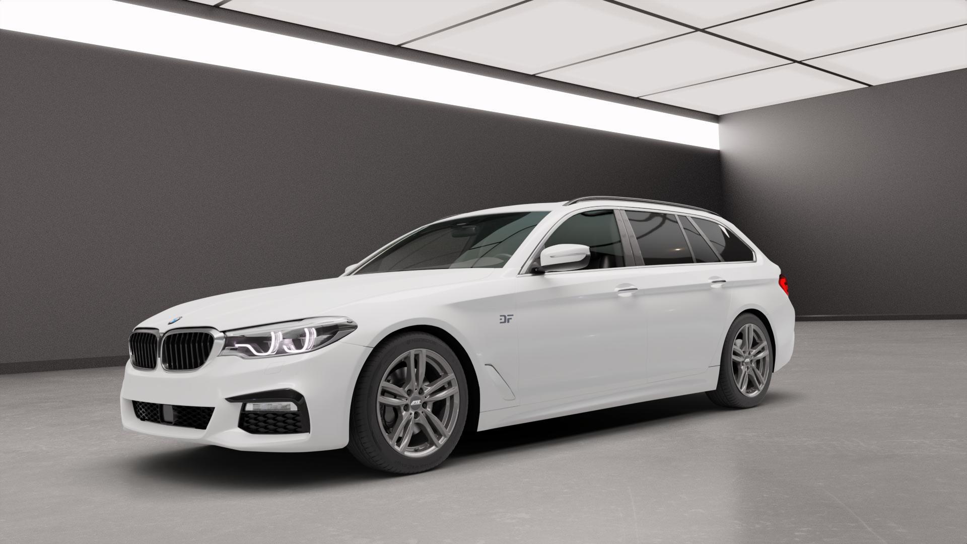 ATS Evolution dark-grey Felge mit Reifen grau in 18Zoll Winterfelge Alufelge auf weissem BMW 5er G31 Touring (G5K) ⬇️ mit 15mm Tieferlegung ⬇️ Neutral_mid_max5300mm Frontansicht_1