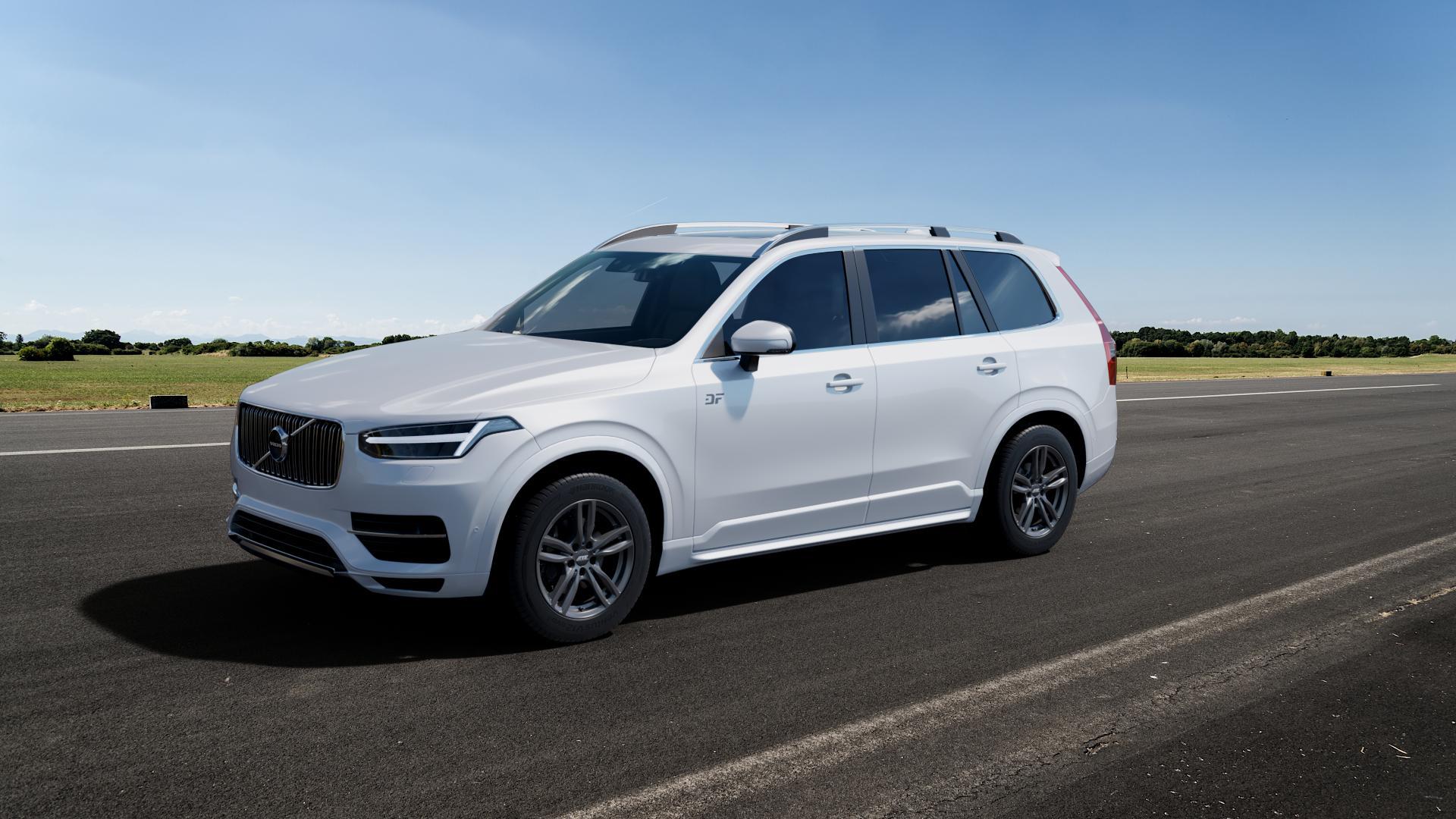 ATS Evolution dark-grey Felge mit Reifen grau in 18Zoll Winterfelge Alufelge auf weissem Volvo XC90 II Typ L ⬇️ mit 15mm Tieferlegung ⬇️ Big_Vehicle_Airstrip_1 Frontansicht_1