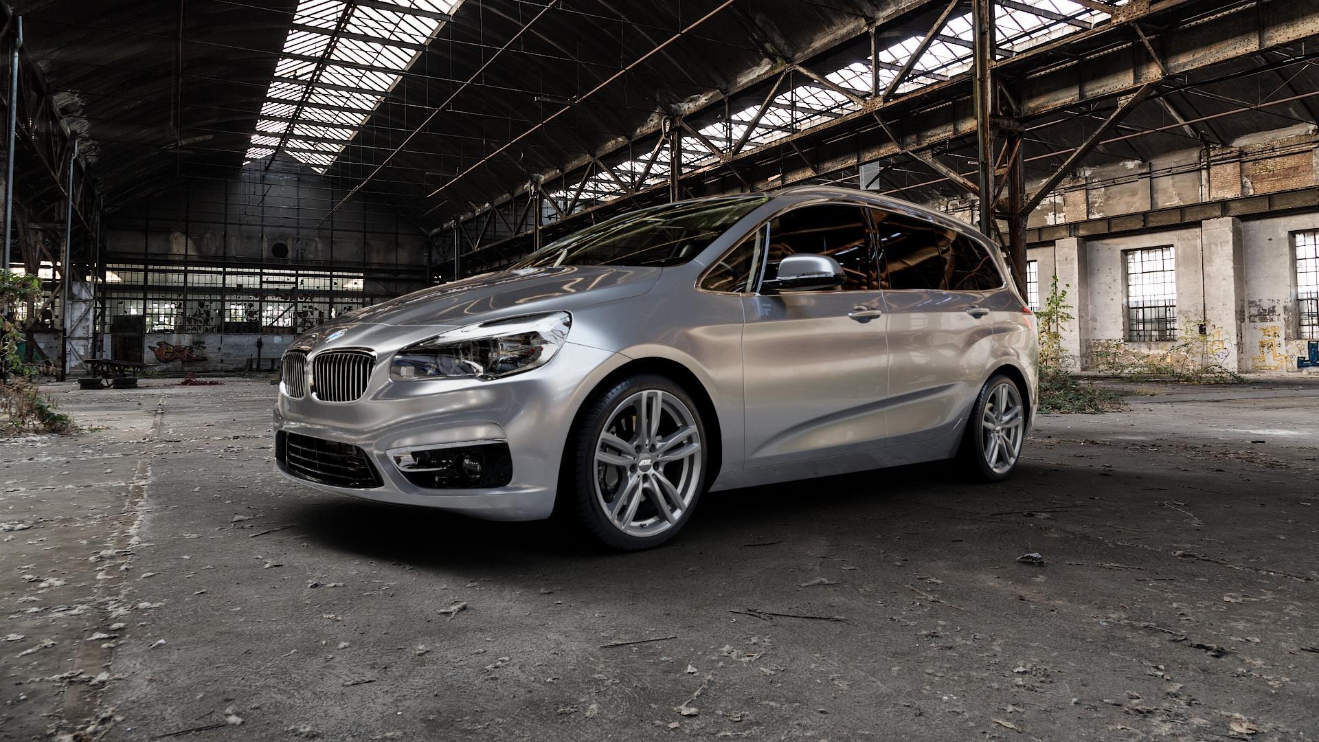 ATS Evolution dark-grey Felge mit Reifen grau in 19Zoll Winterfelge Alufelge auf silbernem BMW 218i Typ UKL-L (F46 Gran Tourer) 220i 216d 218d 220d xDrive 214d 216i F2GT ⬇️ mit 15mm Tieferlegung ⬇️ Industriehalle 1 Camera_000