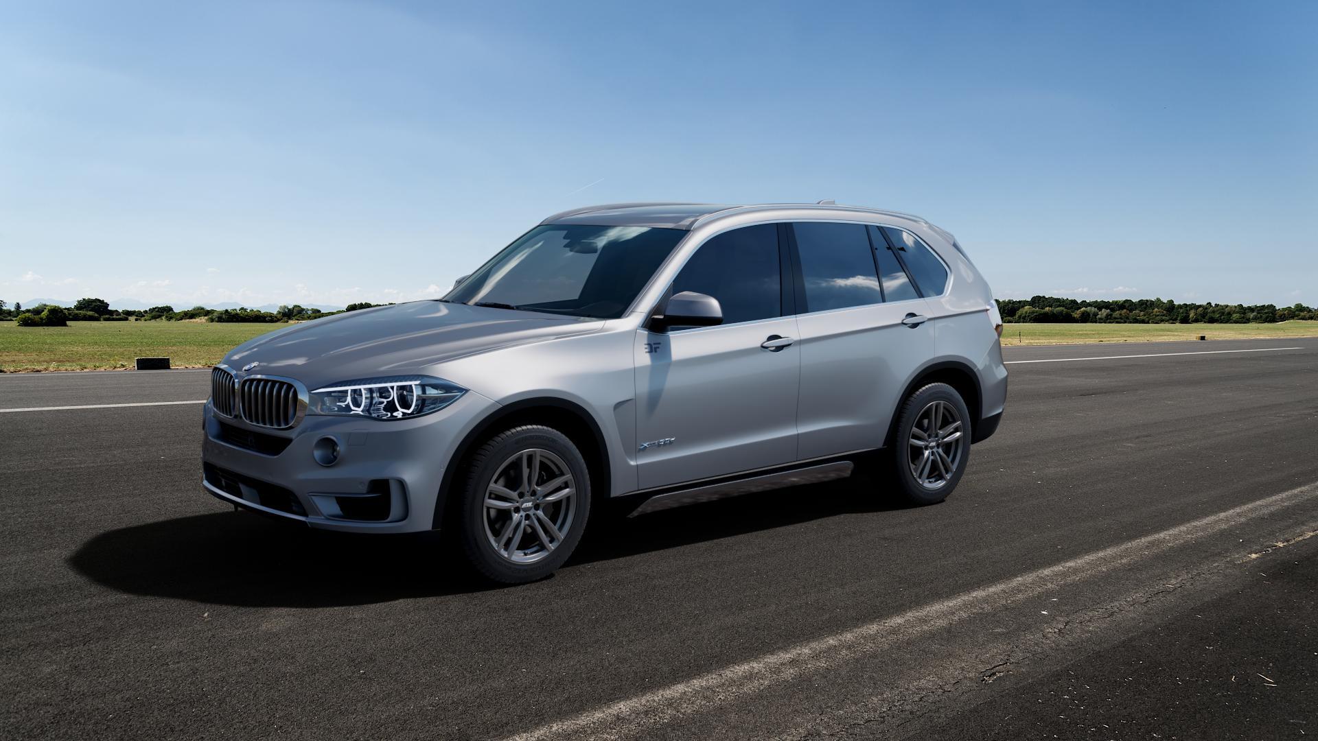 ATS Evolution dark-grey Felge mit Reifen grau in 19Zoll Winterfelge Alufelge auf silbernem BMW X5 Typ F15 (X5, X-N1) ⬇️ mit 15mm Tieferlegung ⬇️ Big_Vehicle_Airstrip_1 Frontansicht_1