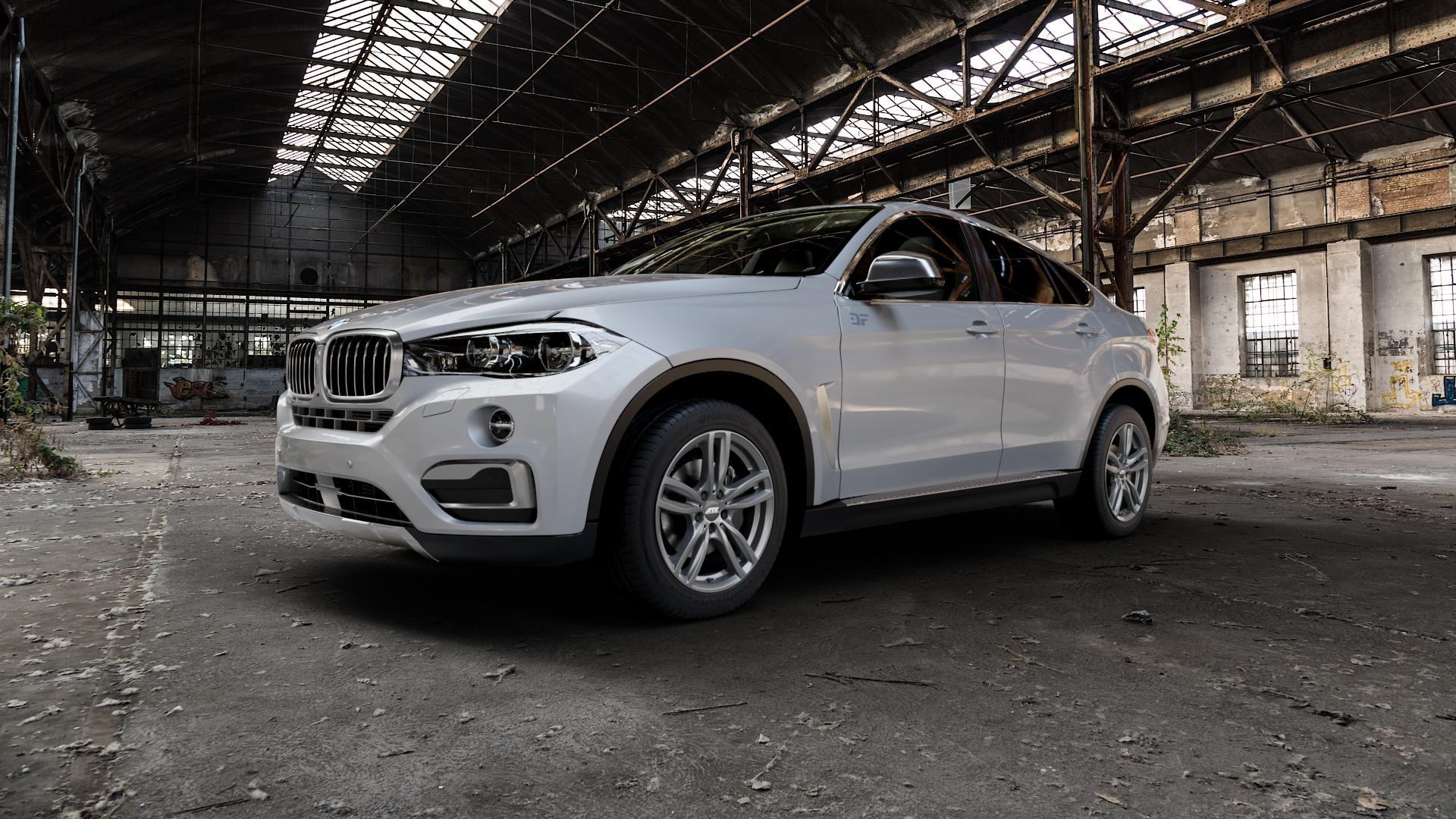 ATS Evolution dark-grey Felge mit Reifen grau in 19Zoll Winterfelge Alufelge auf silbernem BMW X6 Typ F16 (X6, X-N1) ⬇️ mit 15mm Tieferlegung ⬇️ Industriehalle 1 Camera_000