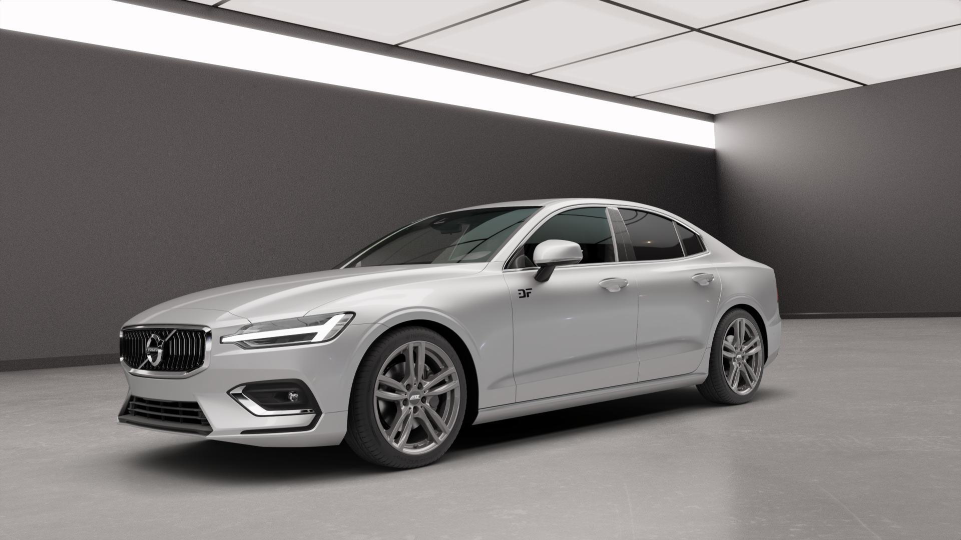 ATS Evolution dark-grey Felge mit Reifen grau in 19Zoll Winterfelge Alufelge auf silbernem Volvo S60 III Typ Z ⬇️ mit 15mm Tieferlegung ⬇️ Neutral_mid_max5300mm Frontansicht_1
