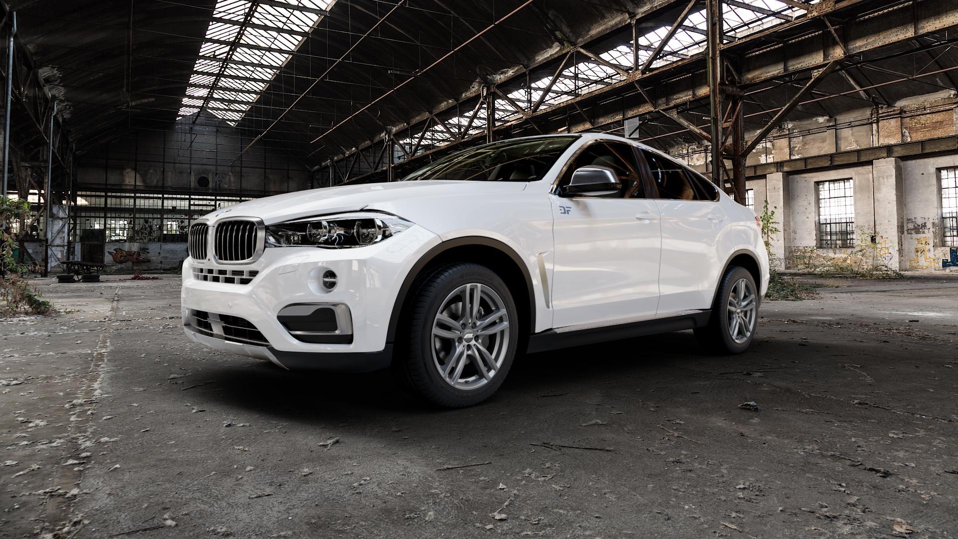 ATS Evolution dark-grey Felge mit Reifen grau in 19Zoll Winterfelge Alufelge auf weissem BMW X6 Typ F16 (X6, X-N1) ⬇️ mit 15mm Tieferlegung ⬇️ Industriehalle 1 Camera_000