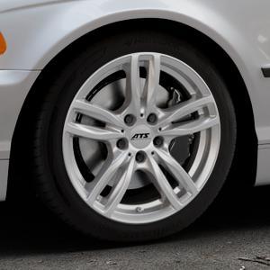 ATS Evolution polar-silber Felge mit Reifen in 17Zoll Winterfelge Alufelge auf silbernem BMW 316i Typ E46 (Limousine) 318i 320i 323i 328i 325i 330d 330xd 330i 318d 320d 325xi 330xi ⬇️ mit 15mm Tieferlegung ⬇️ Industriehalle 1 Thumbnail