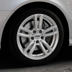 ATS Evolution polar-silber Felge mit Reifen in 17Zoll Winterfelge Alufelge auf silbernem Mercedes E-Klasse Typ W211 Limousine ⬇️ mit 15mm Tieferlegung ⬇️ Industriehalle 1 Thumbnail