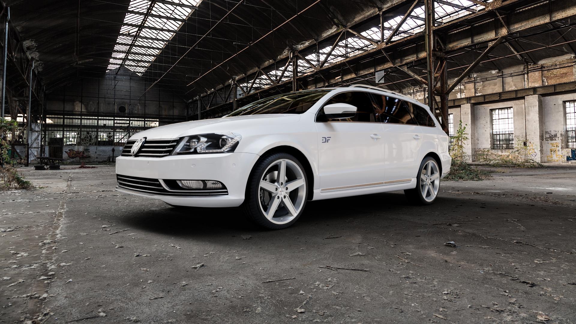 AUTEC Delano Hyper silber Felge mit Reifen in 19Zoll Winterfelge Alufelge auf weissem Volkswagen (VW) Passat 3C/B7 Variant ⬇️ mit 15mm Tieferlegung ⬇️ Industriehalle 1 Camera_000