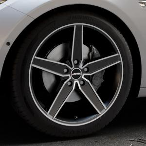 AUTEC Delano Schwarz matt poliert Felge mit Reifen mehrfarbig in 19Zoll Alufelge auf silbernem BMW 535i GT Typ F07 xDrive 550i 530d 535d 520d 528i ⬇️ mit 15mm Tieferlegung ⬇️ Industriehalle 1 Thumbnail