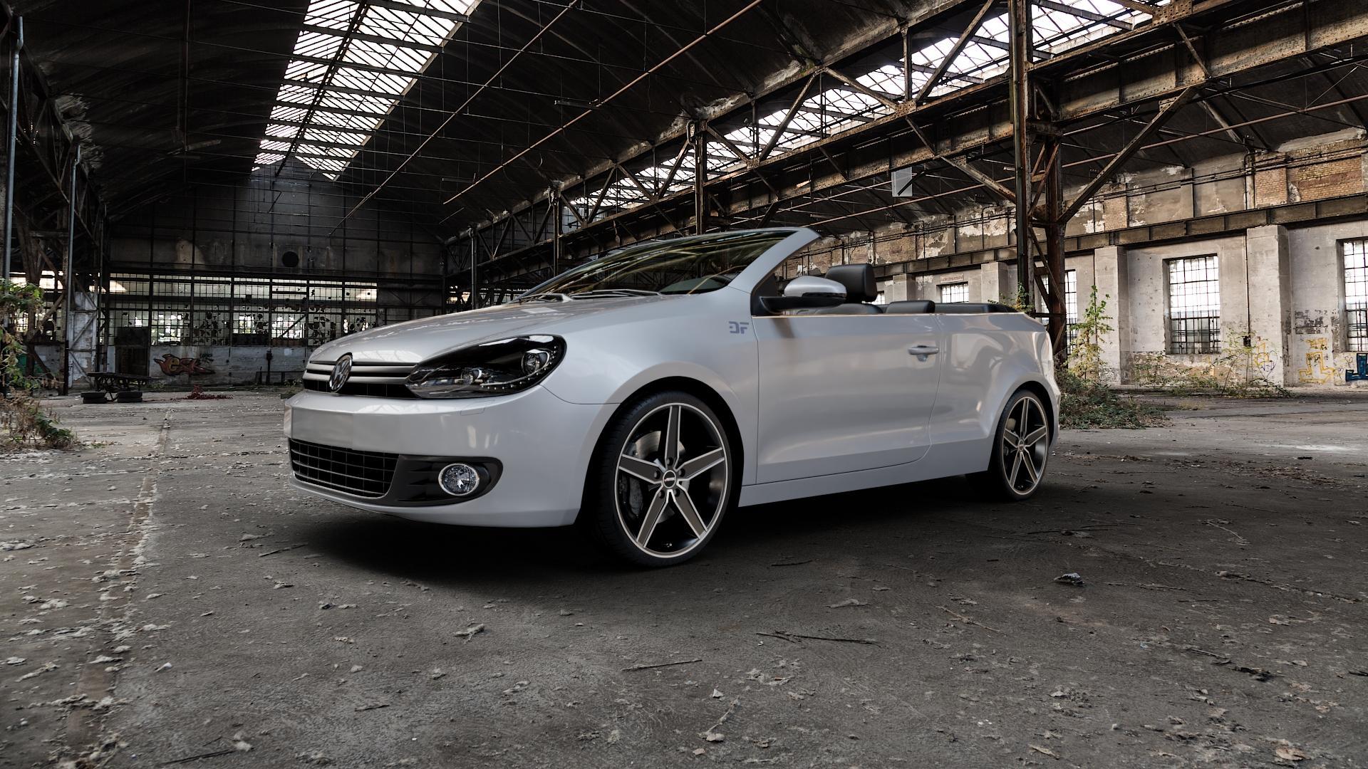 AUTEC Delano Schwarz matt poliert Felge mit Reifen mehrfarbig in 19Zoll Alufelge auf silbernem Volkswagen (VW) Golf 6 Cabrio ⬇️ mit 15mm Tieferlegung ⬇️ Industriehalle 1 Camera_000