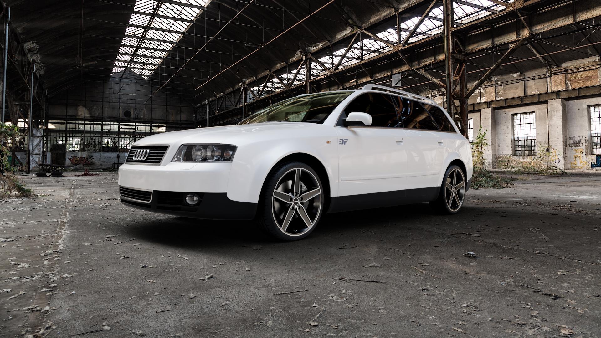 AUTEC Delano Schwarz matt poliert Felge mit Reifen mehrfarbig in 19Zoll Alufelge auf weissem Audi A4 Typ 8E5/B6 (Avant) ⬇️ mit 15mm Tieferlegung ⬇️ Industriehalle 1 Camera_000