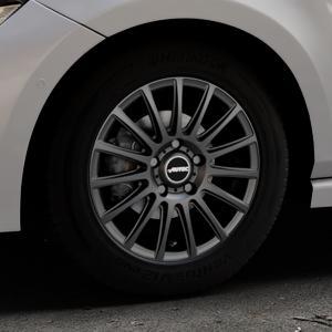 AUTEC Fanatic Schwarz matt Felge mit Reifen in 15Zoll Winterfelge Alufelge auf silbernem Volkswagen (VW) Polo VI Typ AW ⬇️ mit 15mm Tieferlegung ⬇️ Industriehalle 1 Thumbnail