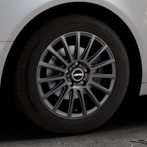 AUTEC Fanatic Schwarz matt Felge mit Reifen in 16Zoll Winterfelge Alufelge auf silbernem Audi A6 Typ 4F/C6 (Limousine) ⬇️ mit 15mm Tieferlegung ⬇️ Industriehalle 1 Thumbnail