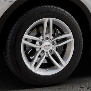 AUTEC Kitano Brillantsilber lackiert Felge mit Reifen in 17Zoll Winterfelge Alufelge auf silbernem BMW X3 Typ F25 (X3, X-N1) ⬇️ mit 15mm Tieferlegung ⬇️ Industriehalle 1 Thumbnail