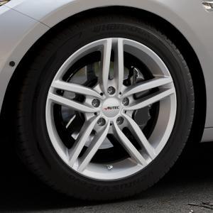 AUTEC Kitano Brillantsilber lackiert Felge mit Reifen in 18Zoll Winterfelge Alufelge auf silbernem BMW 535i GT Typ F07 xDrive 550i 530d 535d 520d 528i ⬇️ mit 15mm Tieferlegung ⬇️ Industriehalle 1 Thumbnail