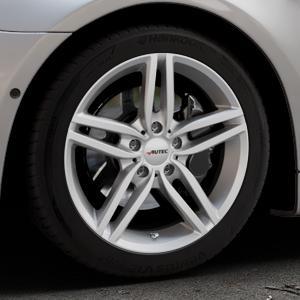 AUTEC Kitano Brillantsilber lackiert Felge mit Reifen in 18Zoll Winterfelge Alufelge auf silbernem BMW 640i Typ F12 (Cabrio) 640d 650i xDrive ⬇️ mit 15mm Tieferlegung ⬇️ Industriehalle 1 Thumbnail