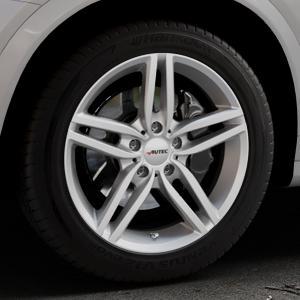 AUTEC Kitano Brillantsilber lackiert Felge mit Reifen in 18Zoll Winterfelge Alufelge auf silbernem BMW X4 Typ F26 (X3, X-N1) ⬇️ mit 15mm Tieferlegung ⬇️ Industriehalle 1 Thumbnail