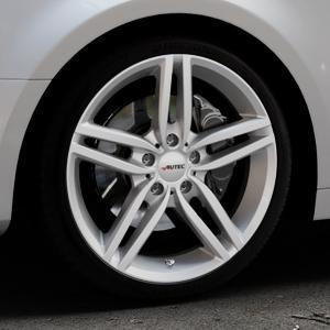 AUTEC Kitano Brillantsilber lackiert Felge mit Reifen in 19Zoll Winterfelge Alufelge auf silbernem Audi A4 Typ B9 (Limousine) ⬇️ mit 15mm Tieferlegung ⬇️ Industriehalle 1 Thumbnail