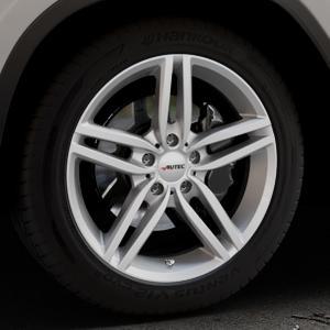 AUTEC Kitano Brillantsilber lackiert Felge mit Reifen in 19Zoll Winterfelge Alufelge auf silbernem BMW X3 Typ G01 (G3X) ⬇️ mit 15mm Tieferlegung ⬇️ Industriehalle 1 Thumbnail