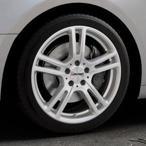 AUTEC Mugano Brillantsilber lackiert Felge mit Reifen in 18Zoll Winterfelge Alufelge auf silbernem Audi A5 Typ B9 (Coupé) (Cabriolet) ⬇️ mit 15mm Tieferlegung ⬇️ Industriehalle 1 Thumbnail