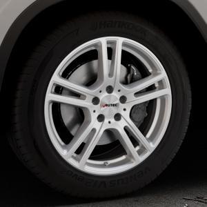AUTEC Mugano Brillantsilber lackiert Felge mit Reifen in 18Zoll Winterfelge Alufelge auf silbernem BMW X3 Typ G01 (G3X) ⬇️ mit 15mm Tieferlegung ⬇️ Industriehalle 1 Thumbnail