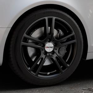 AUTEC Mugano Schwarz matt Felge mit Reifen in 18Zoll Winterfelge Alufelge auf silbernem Audi A6 Typ 4F/C6 (Avant) ⬇️ mit 15mm Tieferlegung ⬇️ Industriehalle 1 Thumbnail