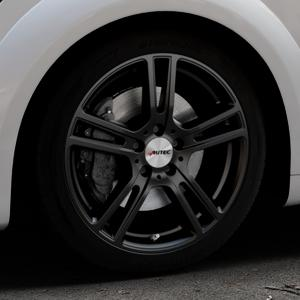 AUTEC Mugano Schwarz matt Felge mit Reifen in 18Zoll Winterfelge Alufelge auf silbernem Audi TT III Typ 8S (Coupé) (Roadster) ⬇️ mit 15mm Tieferlegung ⬇️ Industriehalle 1 Thumbnail