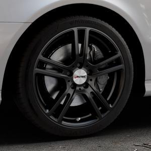 AUTEC Mugano Schwarz matt Felge mit Reifen in 18Zoll Winterfelge Alufelge auf silbernem Mercedes E-Klasse Typ W211 Limousine ⬇️ mit 15mm Tieferlegung ⬇️ Industriehalle 1 Thumbnail