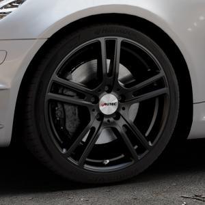 AUTEC Mugano Schwarz matt Felge mit Reifen in 18Zoll Winterfelge Alufelge auf silbernem Mercedes SLK Typ R171 ⬇️ mit 15mm Tieferlegung ⬇️ Industriehalle 1 Thumbnail