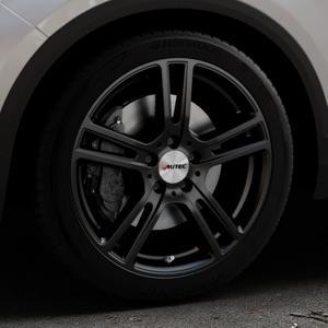 AUTEC Mugano Schwarz matt Felge mit Reifen in 18Zoll Winterfelge Alufelge auf silbernem Volkswagen (VW) T-Roc ⬇️ mit 15mm Tieferlegung ⬇️ Industriehalle 1 Thumbnail