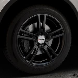 AUTEC Mugano Schwarz matt Felge mit Reifen in 18Zoll Winterfelge Alufelge auf silbernem Volkswagen (VW) Tiguan II Typ 5N Allspace ⬇️ mit 15mm Tieferlegung ⬇️ Industriehalle 1 Thumbnail