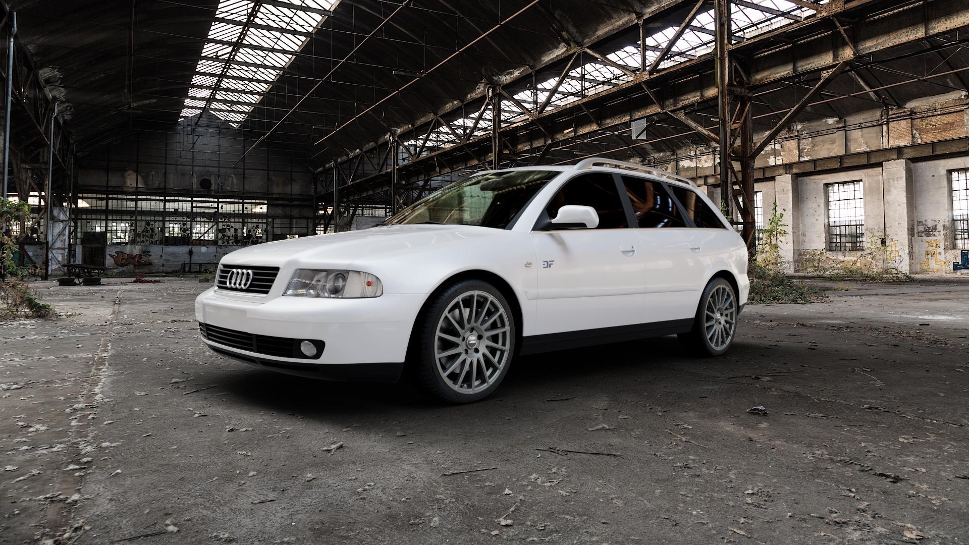 AUTEC Oktano Gunmetal matt Felge mit Reifen grau in 18Zoll Winterfelge Alufelge auf weissem Audi A4 Typ 8D5/B5 (Avant) ⬇️ mit 15mm Tieferlegung ⬇️ Industriehalle 1 Camera_000