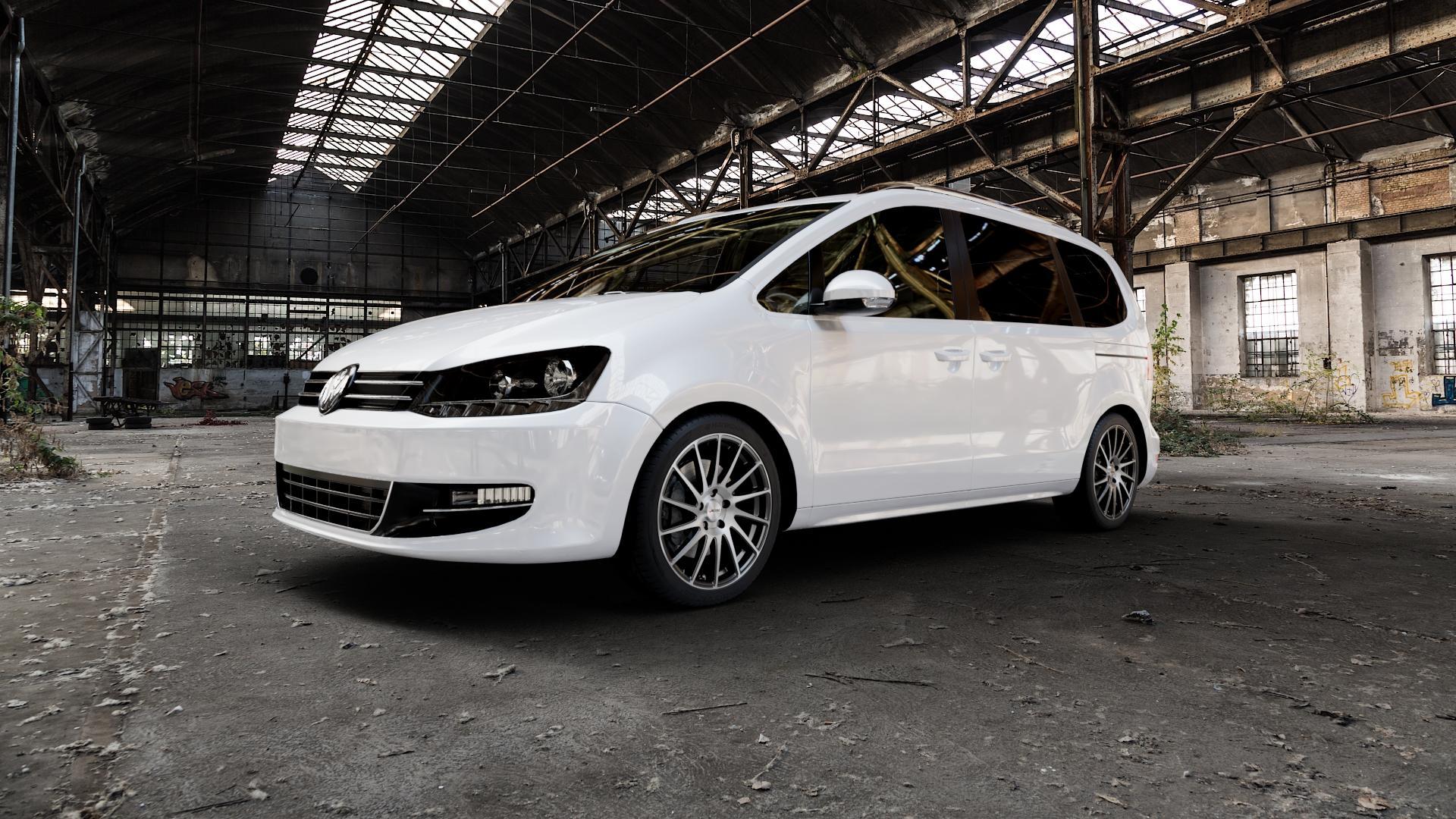 AUTEC Oktano Schwarz poliert Felge mit Reifen silber mehrfarbig in 18Zoll Alufelge auf weissem Volkswagen (VW) Sharan II Typ 7N ⬇️ mit 15mm Tieferlegung ⬇️ Industriehalle 1 Camera_000