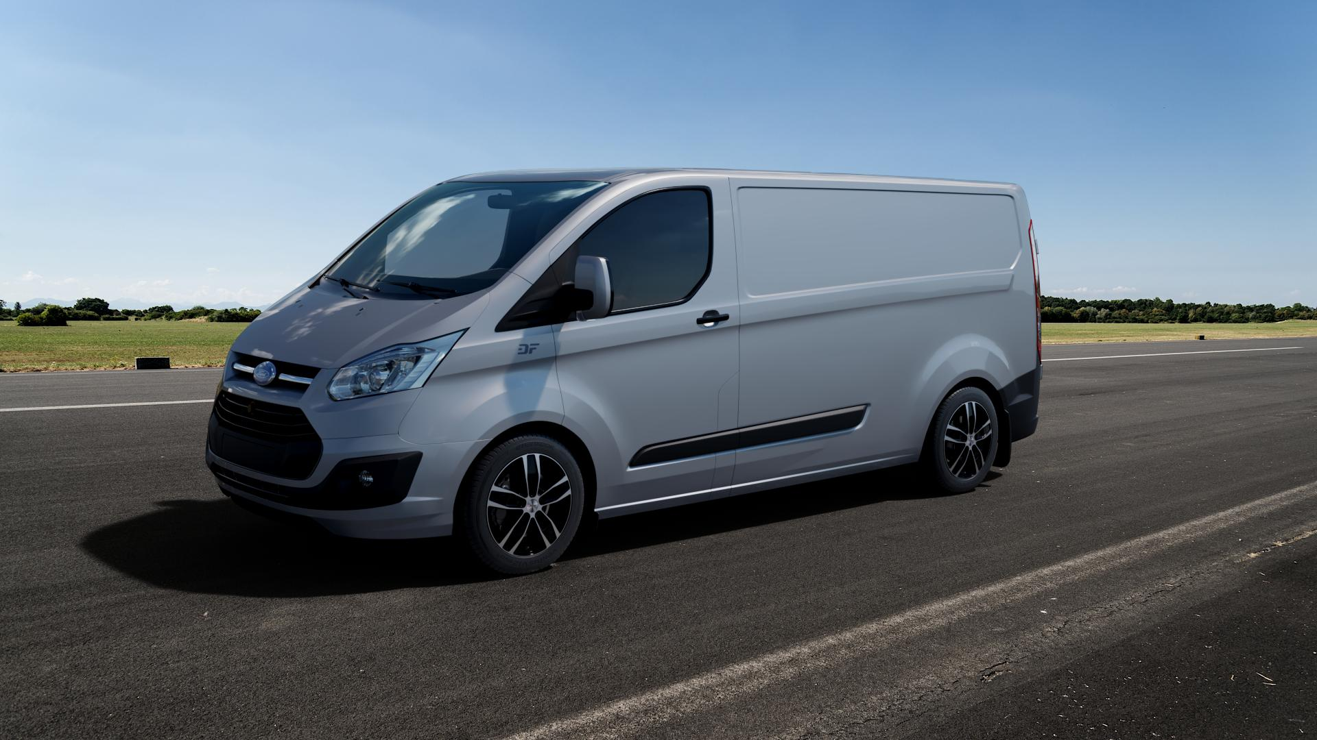 AUTEC Quantro Schwarz poliert Felge mit Reifen in 17Zoll Alufelge auf silbernem Ford Transit Custom Typ FCC (12->) ⬇️ mit 15mm Tieferlegung ⬇️ Big_Vehicle_Airstrip_1 Frontansicht_1