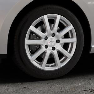 AUTEC Skandic Brillantsilber lackiert Felge mit Reifen in 16Zoll Winterfelge Alufelge auf silbernem Seat Leon Typ 5F ST Facelift ⬇️ mit 15mm Tieferlegung ⬇️ Industriehalle 1 Thumbnail