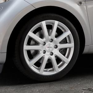 AUTEC Skandic Brillantsilber lackiert Felge mit Reifen in 16Zoll Winterfelge Alufelge auf silbernem Smart Fortwo Coupe III (14-) (453) Cabrio (16-) ⬇️ mit 15mm Tieferlegung ⬇️ Industriehalle 1 Thumbnail