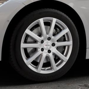 AUTEC Skandic Brillantsilber lackiert Felge mit Reifen in 17Zoll Winterfelge Alufelge auf silbernem BMW 320i Typ F30 (Limousine) 328i 335i 320d 318d 316d 316i 330d xDrive EffDyn Edition 325d 335d ActiveHybrid 318i ⬇️ mit 15mm Tieferlegung ⬇️ Industriehalle 1 Thumbnail