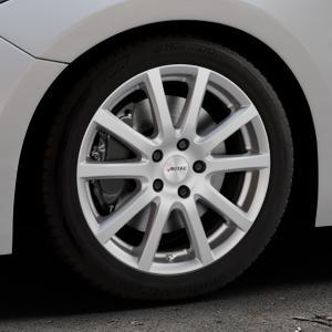 AUTEC Skandic Brillantsilber lackiert Felge mit Reifen in 17Zoll Winterfelge Alufelge auf silbernem Mazda 3 (13-) Stufenheck (BM) Sport (17-) Facelift Fließheck ⬇️ mit 15mm Tieferlegung ⬇️ Industriehalle 1 Thumbnail