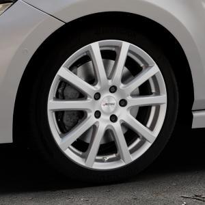 AUTEC Skandic Brillantsilber lackiert Felge mit Reifen in 17Zoll Winterfelge Alufelge auf silbernem Volkswagen (VW) Polo VI Typ AW ⬇️ mit 15mm Tieferlegung ⬇️ Industriehalle 1 Thumbnail