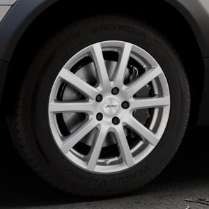 AUTEC Skandic Brillantsilber lackiert Felge mit Reifen in 17Zoll Winterfelge Alufelge auf silbernem Volvo XC70 II Typ B ⬇️ mit 15mm Tieferlegung ⬇️ Industriehalle 1 Thumbnail