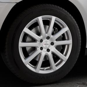 AUTEC Skandic Brillantsilber lackiert Felge mit Reifen in 18Zoll Winterfelge Alufelge auf silbernem Mercedes M-Klasse Typ W164 ⬇️ mit 15mm Tieferlegung ⬇️ Industriehalle 1 Thumbnail