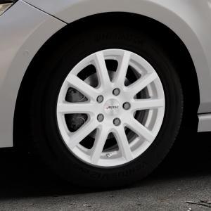 AUTEC Skandic ECE Brillantsilber lackiert Felge mit Reifen in 15Zoll Winterfelge Alufelge auf silbernem Volkswagen (VW) Polo VI Typ AW ⬇️ mit 15mm Tieferlegung ⬇️ Industriehalle 1 Thumbnail