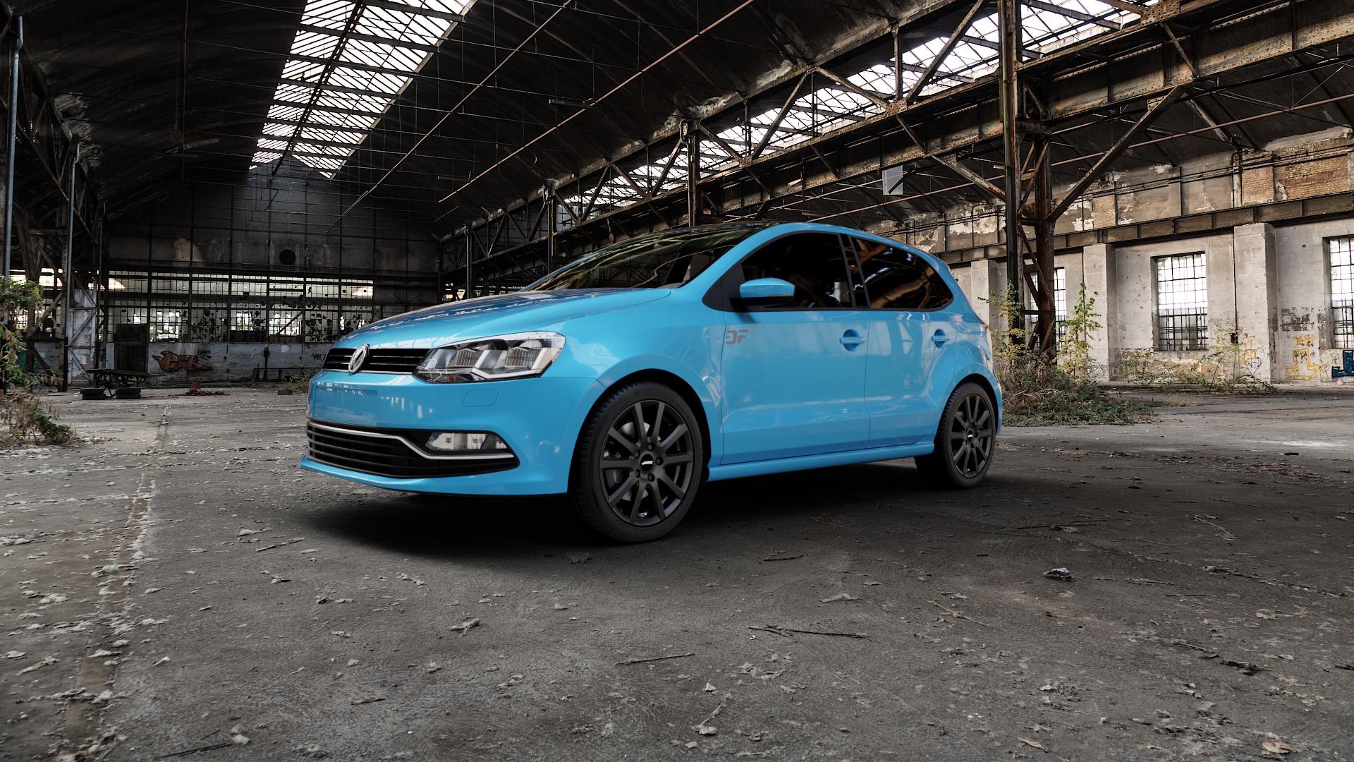 AUTEC Skandic Schwarz matt Felge mit Reifen in 16Zoll Winterfelge Alufelge auf hellblau Volkswagen (VW) Polo V Typ 6C 1,0l 44kW (60 PS) 55kW (75 1,2l TSI 66kW (90 81kW (110 1,4l TDI 77kW (105 110kW (150 70kW (95 ⬇️ mit 15mm Tieferlegung ⬇️ Industriehalle 1 Camera_000